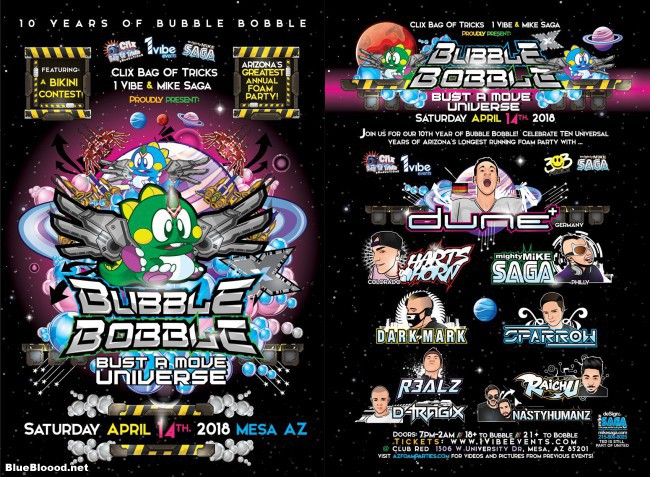 Bubble Bobble Foam Party Flyer 2018