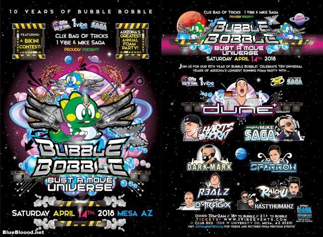 Bubble Bobble Foam Party Flyer 2018