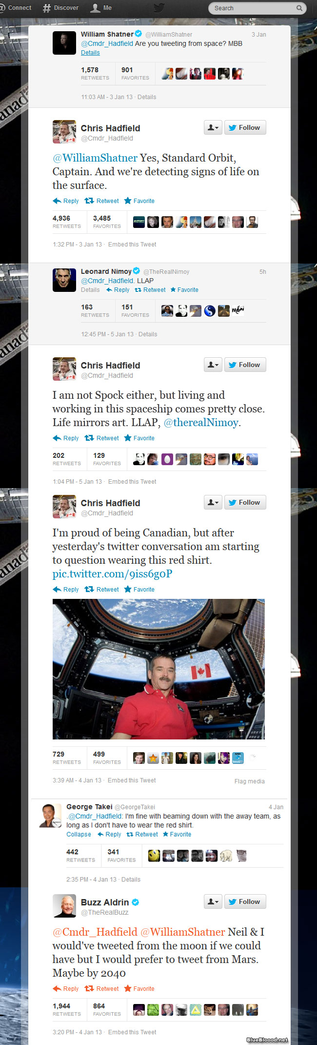 chris hadfield tweeting from space