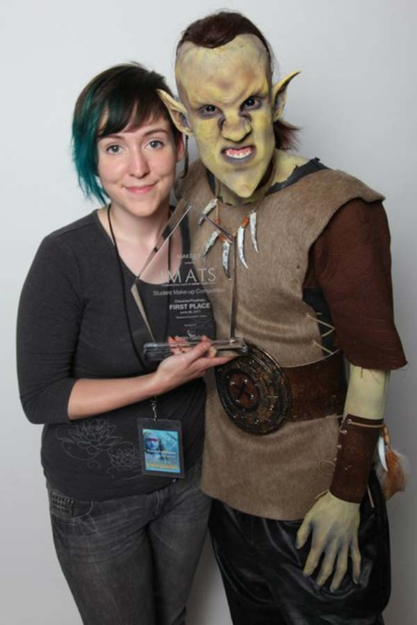 Carolyn Williams, first-place winner in  the character/prosthetic student competition at IMATS Los Angeles 2011.  Photo by Deverill Weekes