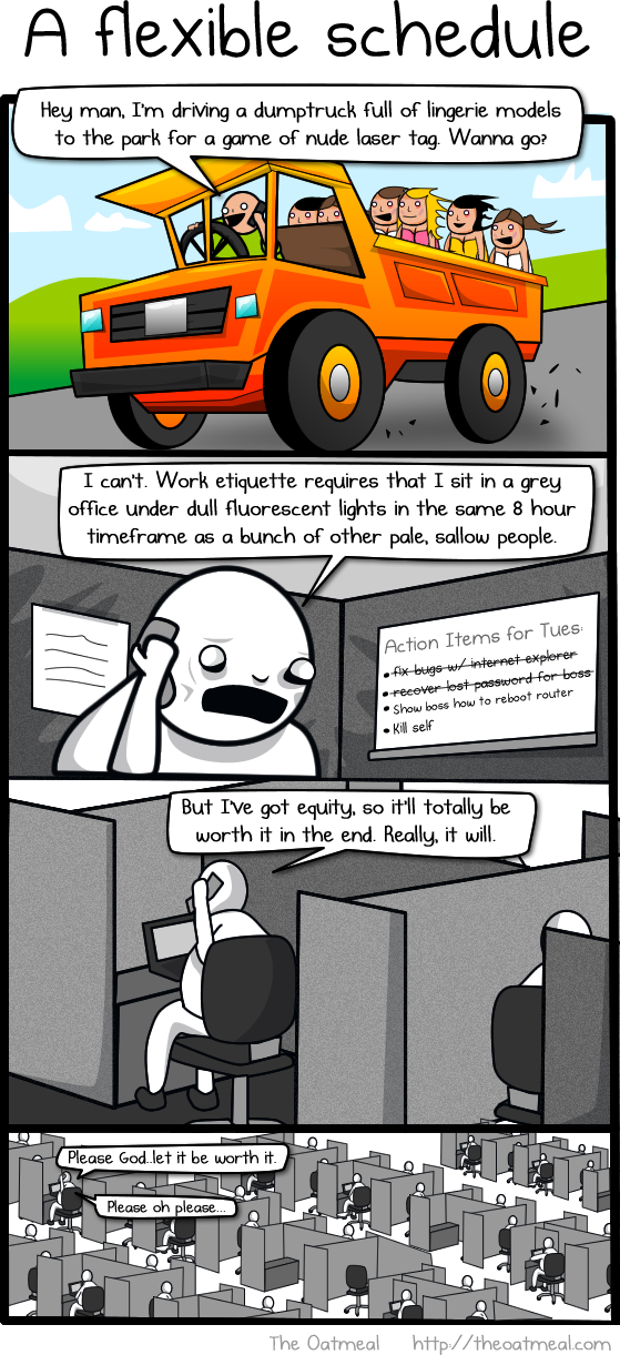 the oatmeal why working at home is both awesome and horrible